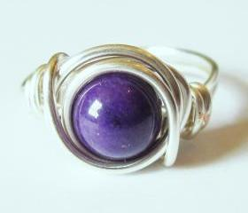 Purple Mountain Jade Ring in Silver