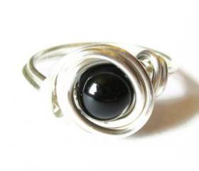 Black Agate Ring in Silver
