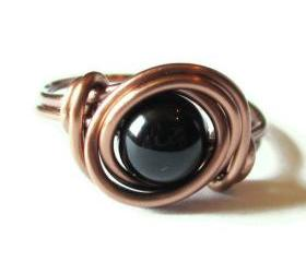 Black Agate ring in Antique Copper