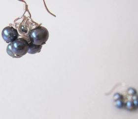 Dancing Noir Fairies Earrings - Fresh Water Pearls & 925 Silver