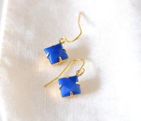 Blue Diamond Dangle Earrings