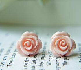 Pale Pink Rose Titanium Earrings. Titanium Posts. Hypoallergenic. Bridesmaid Earrings. Wedding Jewelry