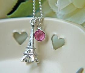 Eiffel Tower Necklace In Silver. Romantic Paris. Pink Swarovski Channel Charm. La Vie en Rose