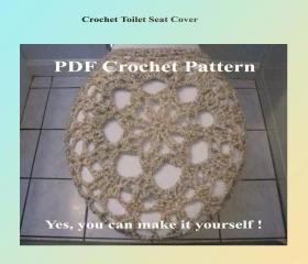 Crochet Pattern - Toilet Seat Cover for Both Standard and Elongated Toilet Seats (1VC2012)