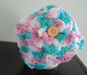 Crochet Cotton baby hat, mixed (H10)