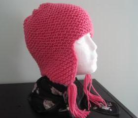 Knit Earflap Hat - Light Raspberry (h5)
