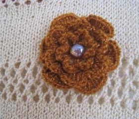 Crochet flower brooch used with a headband - different colors (F2)