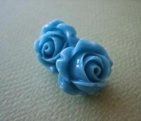 Adorable Cabbage Rose Earrings - Blue - Free Standard US Shipping - Jewelry by ZARDENIA