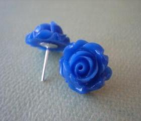 Adorable Cabbage Rose Earrings - Royal Blue - Free Standard US Shipping - Jewelry by ZARDENIA