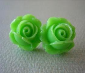Adorable Cabbage Rose Earrings - Apple Green - Free Standard US Shipping - Jewelry by ZARDENIA