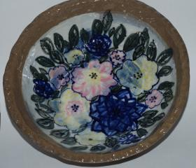 Stoneware Bowl with Flowers