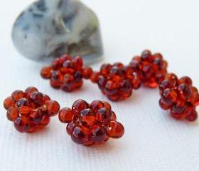 Red small Beaded Beads Lampwork Style Topaz (8) Jewelry Making Supplies.