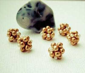 Golden Beaded Beads(6) Handcrafted Lampwork Style Jewelry Making Supplies. Christmas sparkle
