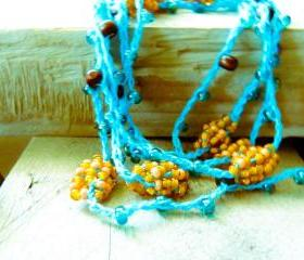 Spring fashion Turquoise Orange Brown crochet strand. headband/ wrap bracelet / anklet / belt