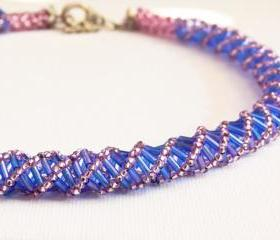 Boho Chic Sapphire Blue Amethyst Spiral Choker. Mother day gift idea. Statement jewelry