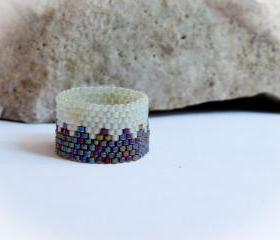 Custom band ring. Forest dream. Woodland wedding. Bead woven zig zag