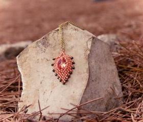 Cute honeysuckle pendant. Holiday jewelry Rustic style under 50 