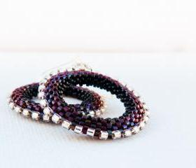 Chic Silver Cherry Beadwoven Hoop Earrings Modern Jewelry January trends. 