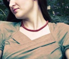 Red snake choker style necklace. January fashion jewelry Ready to ship.