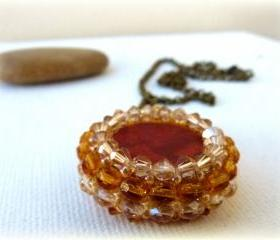 Summer Red Coral Pendant. Vintage Style. Sparkle light.