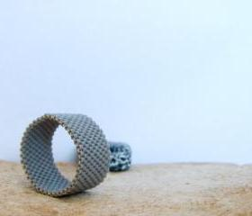 Unisex minimalist custom ring. Bead woven band. Gift idea under 25