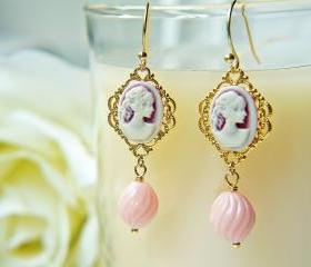 Victorian Style Lady Cameo Earrings.Pink Lady. Gold Filigree. Pastel Color. Romantic. Elegant