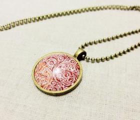 Red Floral Necklace, Red Ornament, Domed Glass Cabochon Image Necklace
