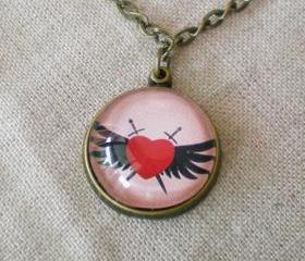 Bezel Set Necklace, Heart Necklace, with Round Pendant, Pink