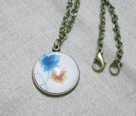Flower Necklaces, Graphic Necklace, Hugging Flowers, Handmade Necklace with Domed Glass Pendant