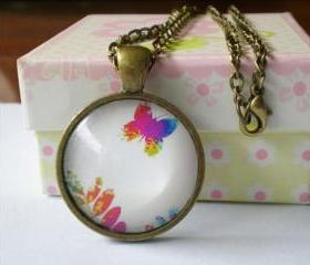 Image Necklace, Butterfly & Flower Necklace, Domed Glass Image Necklace