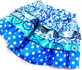 Blue Couture Ruffle Skirt