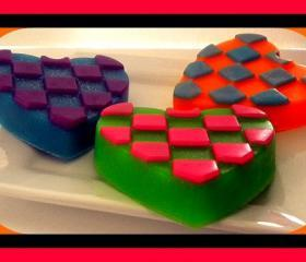 Soap - Checkered Heart - Valentine's Day - You Choose Colors/Scent