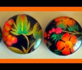 Magnets - Flowers - Magnet Set of 4 - 1 Inch Domed Glass Circles