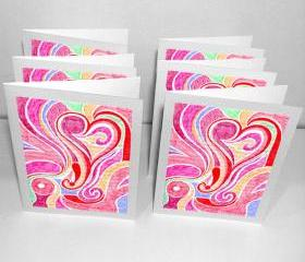 6 Blank Greeting Cards: Blossoming Love
