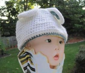 Crochet BUNNY hat, white (H12)