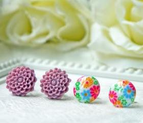 Vintage Flower Earrings Set. Post Earrings. Colorful Chrysanthemum. Stainless Steel Posts