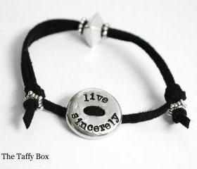 Live Sincerely Pewter Leather Slide Bracelet - Hand Stamped