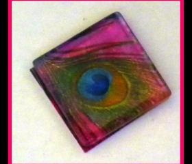 Magnet - Peacock Feather - 1 Inch Glass Square