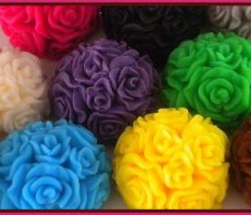 Soap - 25 Round Rose Soaps - Made with Goat's Milk - Weddings, Bridal Showers - You Choose Scents and Colors