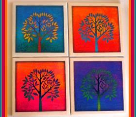 Coasters - Ceramic Tile - Set of 4 - Trees