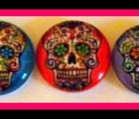 Skulls - Magnet Set of 5 - Sugar Skulls - 1 Inch Domed Glass Circles