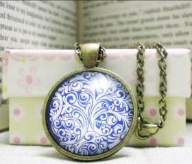 Floral Cabochon Necklace, Blue Ornament, Domed Glass Image Necklace