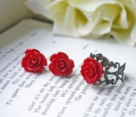 Deep Red Rose Earrings And Ring Jewelry Set. Titanium Posts. Black Victorian Gothic Style. Romantic. Mysterious