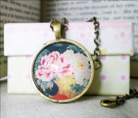 Retro Flower Necklace, Retro Flower, Handmade Necklace with Flower image pendant