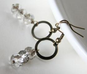 simply silver - earrings - crystal rondelles silver grey antique bronze light elegant