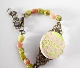 acid green and pink bracelet - natural stone fabric lace and antique bronze - spring lovely
