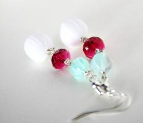 so pretty earrings - mint hot pink white 