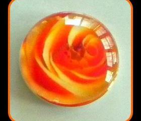Magnet - Orange Rose - Meaning &quot;Desire&quot; - 1 Inch Glass Circle - Valentine's Day