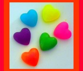 Soap - Puffy Hearts in Neon Colors - 12 Soaps - Valentine's Day, Weddings, Party Favors, Bridal Showers