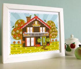 'Folk House' A4 Unframed Print